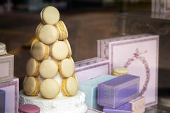 Macarons on display Royalty Free Stock Photography