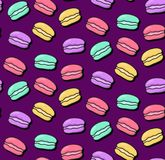 Macarons doodle icons seamless vector pattern. Macarons doodle colorful seamless vector pattern Royalty Free Stock Images