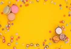 Macarons, dulces, fondo Imagen de archivo