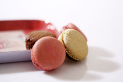 Macarons in een plaat Stock Foto