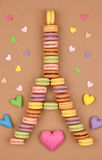Macarons Eiffel Tower french sweet colorful,hearts Stock Photography