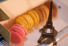 Macarons and the Eiffel Tower Stock Photo