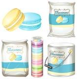 Macarons en diverso empaquetado stock de ilustración