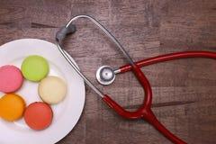 macarons et stéthoscope Images libres de droits