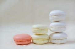 Macarons färgade i pastellfärgade färger som står kolonner Royaltyfri Bild