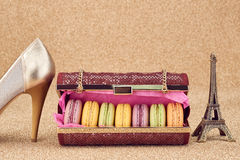 Macarons,fashion handbag,gold.Eiffel Tower.Vintage Royalty Free Stock Images