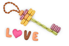 Macarons, forme principale, amour de Word, coeur Images stock