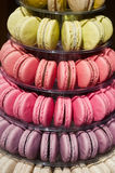 Macarons forming a pyramid in a pastry Stock Photo