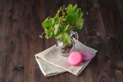 Macarons français colorés de dessert, fleurs, baies Photo stock