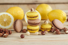 Macarons français jaunes et bruns avec le citron et les noisettes Photo libre de droits