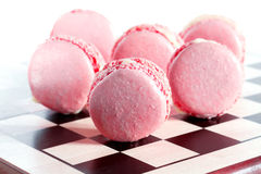 Macarons franceses rosados Imagen de archivo libre de regalías