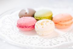 Macarons Franse gebakjes Stock Afbeelding