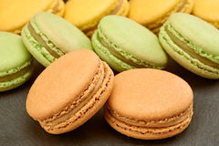 Macarons, french dessert, background. Food closeup Stock Image