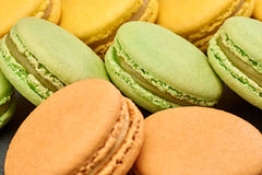 Macarons, french dessert, background. Food closeup Royalty Free Stock Photography