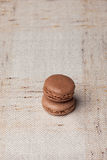 Macarons. French sweet homemade brown macarons Royalty Free Stock Photo