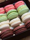 Macarons on a gift box Stock Image