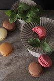 Macarons in gray vintage vase with mint. On a gray stone background royalty free stock photo
