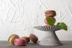 Macarons in gray vintage vase with mint. On a gray stone background royalty free stock photos