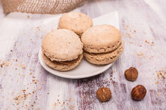Macarons with hazelnut Royalty Free Stock Photography