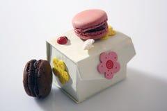 Macarons i en ask Royaltyfri Foto
