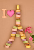 Macarons.I love Eiffel Tower french sweet colorful Stock Image