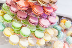 Macarons lays on market counter Royalty Free Stock Photo