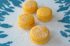 Macarons with lemonfilling Stock Images