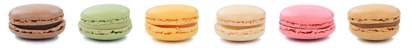 Macarons macaroons cookies collection dessert from France in a r Royalty Free Stock Photos
