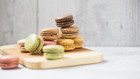 Macarons. Macaroons cookies for dessert in different colours Stock Images
