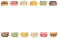 Macarons macaroons cookies dessert from France border copyspace Stock Photos