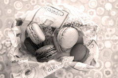 Macarons. Many macaron cakes in a napkin Stock Photo
