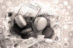 Macarons. Many macaron cakes in a napkin Royalty Free Stock Image
