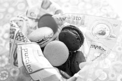 Macarons. Many macaron cakes served in a napkin Royalty Free Stock Photography