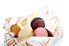 Macarons. Many macaron cakes served in a napkin Stock Image