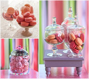 Macarons and marshmallow collage. Delicious sweet buffet with colorful macarons and marshmallow . high resolution collage Royalty Free Stock Photography