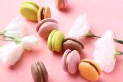 Macarons med eustomablommor royaltyfria foton