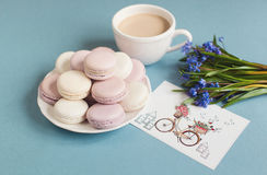Macarons mous doux de plat Photo libre de droits