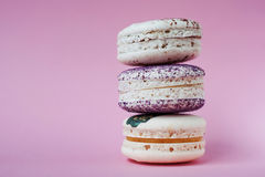 Macarons On Pink Background, Beautiful Dessert, Free Space Left Stock Photo