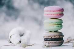 Free Macarons On Table Royalty Free Stock Photography - 130250327