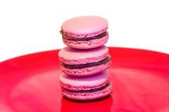 Macarons op plaat Stock Fotografie