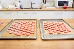 Macarons på ugnsmagasin på konfekt royaltyfria foton