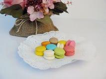 Macarons pastellfärgad färg Arkivbilder