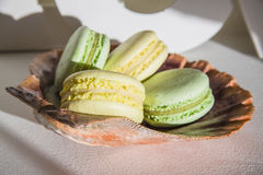 Macarons on a pearl shell Royalty Free Stock Photos