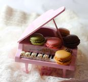 macarons piano cute food miniature dollhouse princess crown music glitter Stock Photo