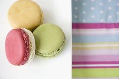 Macarons plate on colorful Stock Photos