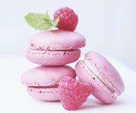 Macarons, Raspberries, Mint Stock Photo