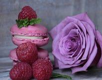Macarons, Raspberries, Mint, Rose Royalty Free Stock Photos