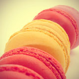 Macarons with a retro filter effect Stock Photo