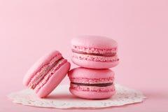 Macarons rosados Imagen de archivo libre de regalías