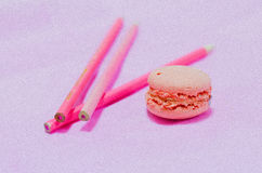 Macarons roses de ressort Photo stock